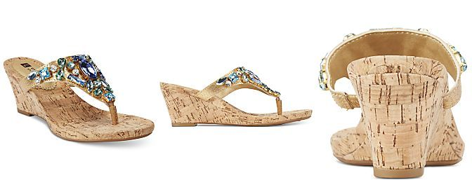 White Mountain Ablaze Embellished Thong Wedge Sandals