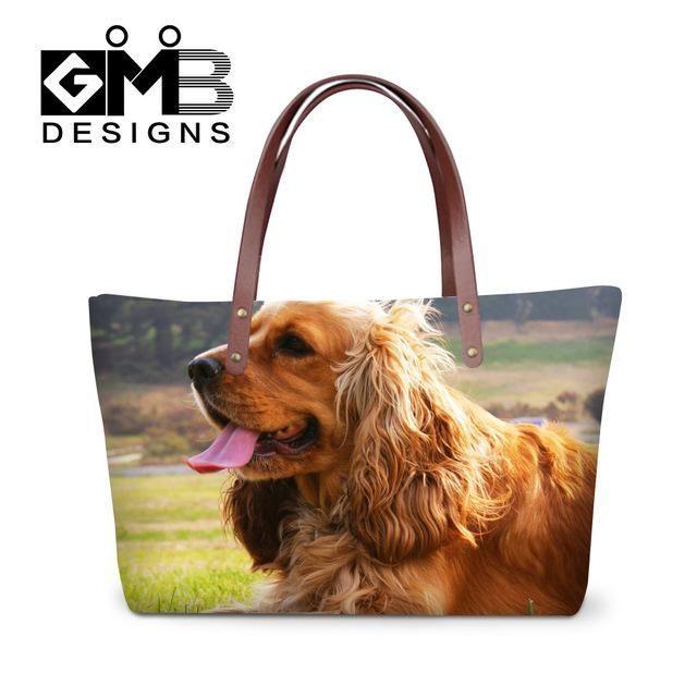 S Lovely Pets German Spitz Printed Handbag Cute Dog Animal Women Fashion Totes Bags Stylish Las
