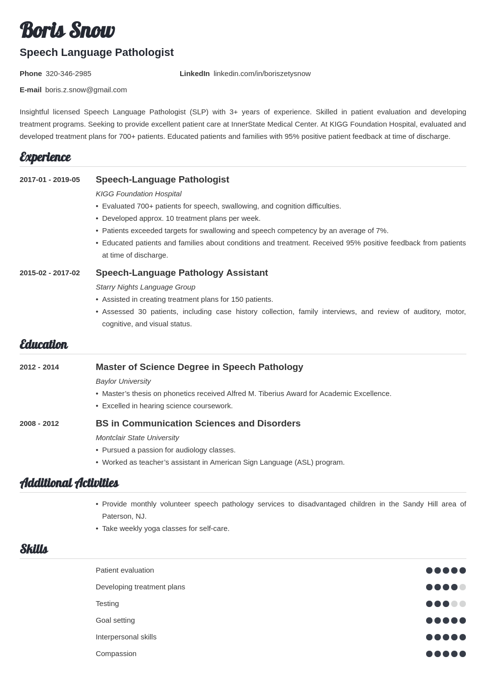 speech pathologist resume example template valera in 2020