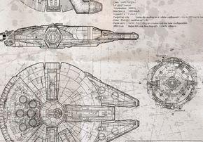Millennium Falcon Blueprint Whiteprint Edition by BiglinGraphics ...