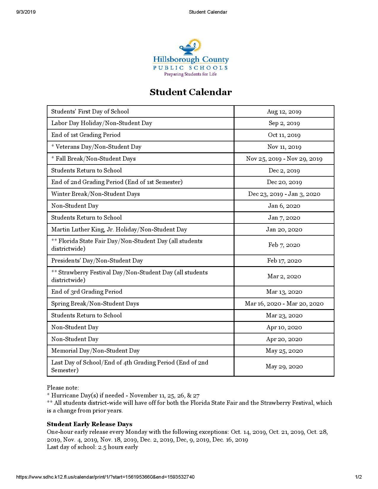 Hillsborough County School Calendar School Calendar Student