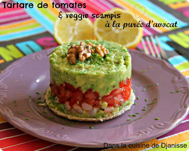 Tartare tomates & veggie scampis à la purée d'avocat