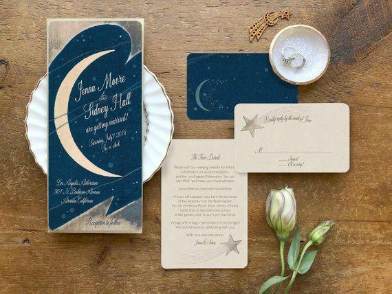 Moon Wedding Invitations Star Wedding Invitation Moon And Stars