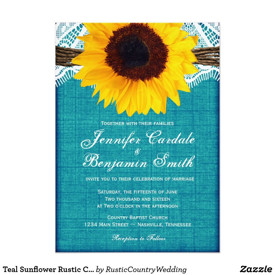 Teal Sunflower Rustic Country Wedding Invites Yellow Sunflower