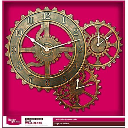 Better Homes And Gardens 24 Qa Gear Wall Clock Bronze