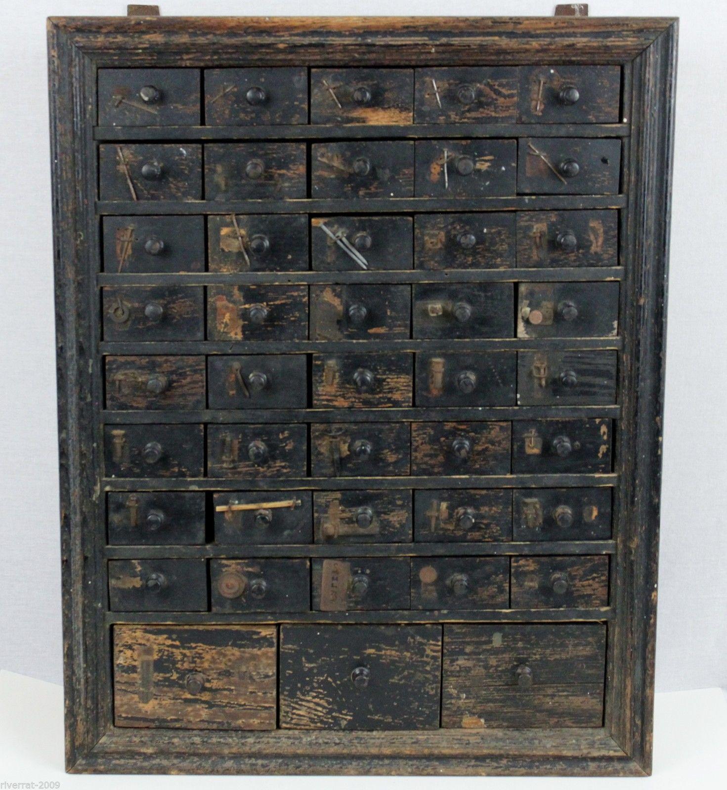 1918 Antique 43 Drawer Hardware Cabinet Apothecary Storage Cabinet Vintage  | EBay