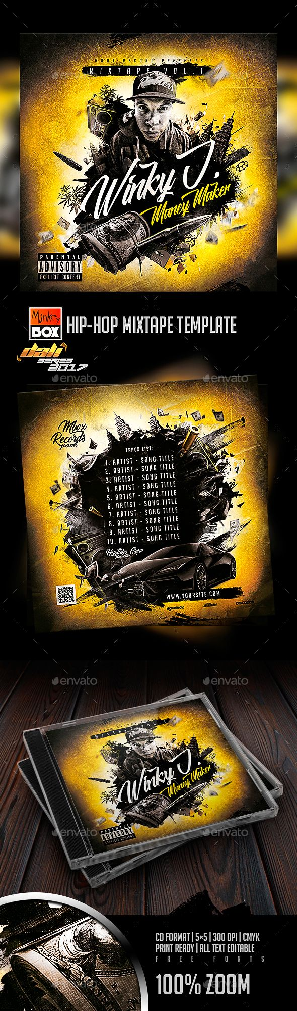 Hip Hop Mixtape Template Cd Dvd Artwork Print Templates Cd