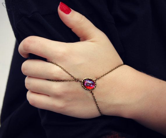 Love the red accent //www.etsy.com/listing/169181437/mexican-opal-slave-bracelet-ring