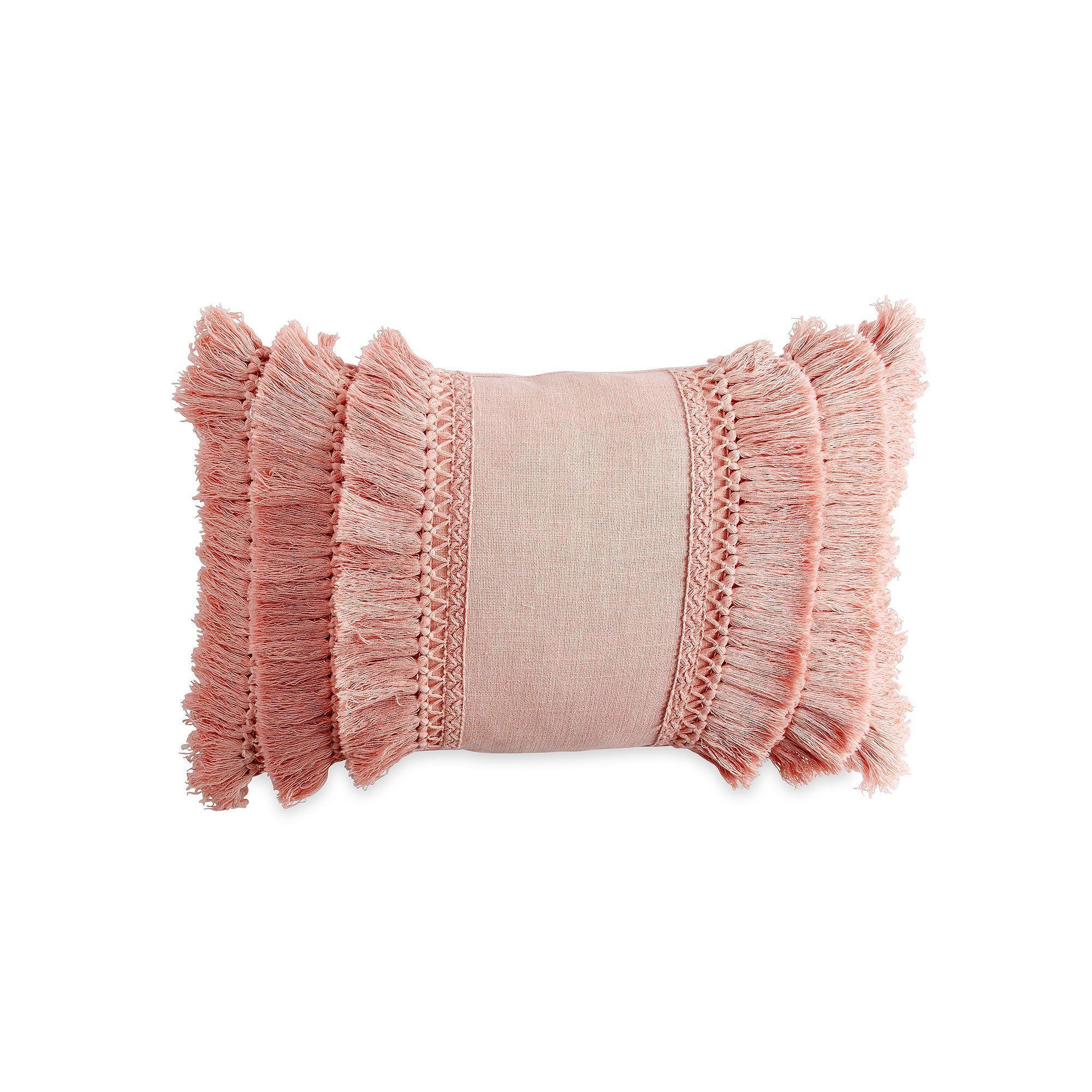 Coussin Pour Chambre D Ado peri fringe throw pillow, pink, 12x18 rect | chambre ado