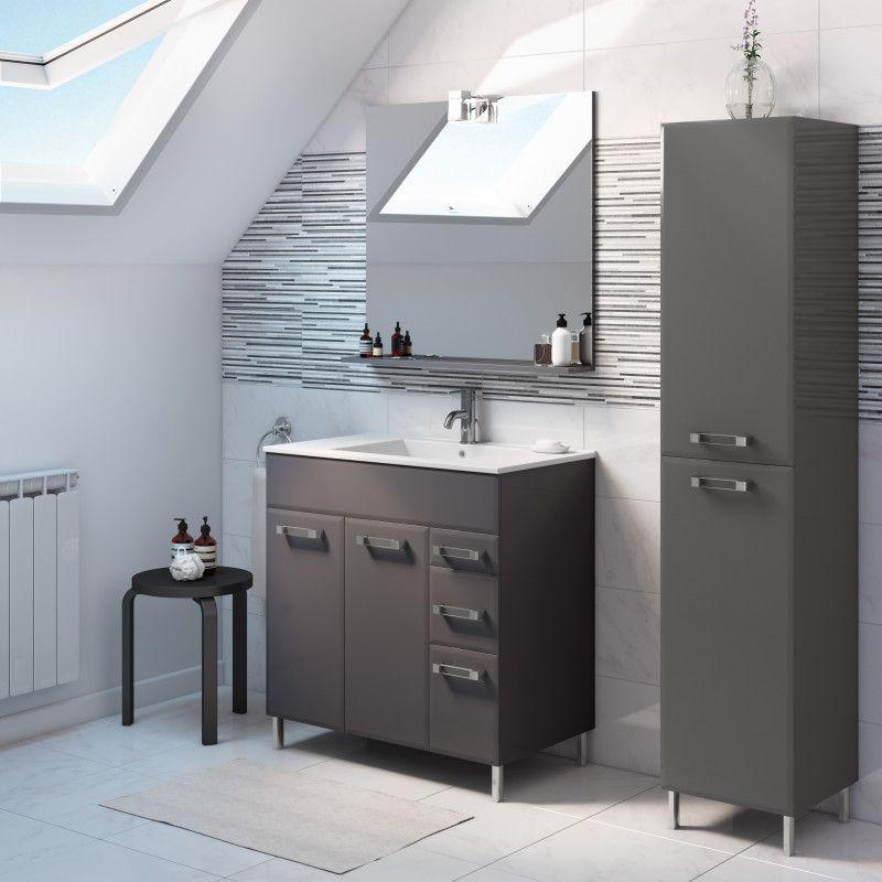 Mobile bagno Opale grigio antracite L 80 cm prezzi e