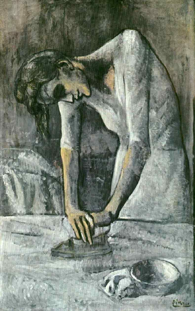 Picasso, The Woman and the Iron http://2.bp.blogspot.com/-aXtFLXu5r2c/TfHV96Z7-pI/AAAAAAAADoQ/ic-U8mYzEWU/s1600/Woman%252BIroning%25252C%252B1904%25252C%252BPablo%252BPicasso.jpg