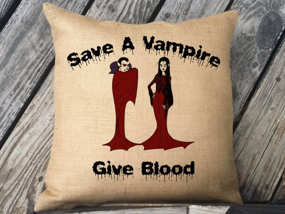 Save a Vampire Give Blood Halloween pillow Burlap Or Canvas Pillow