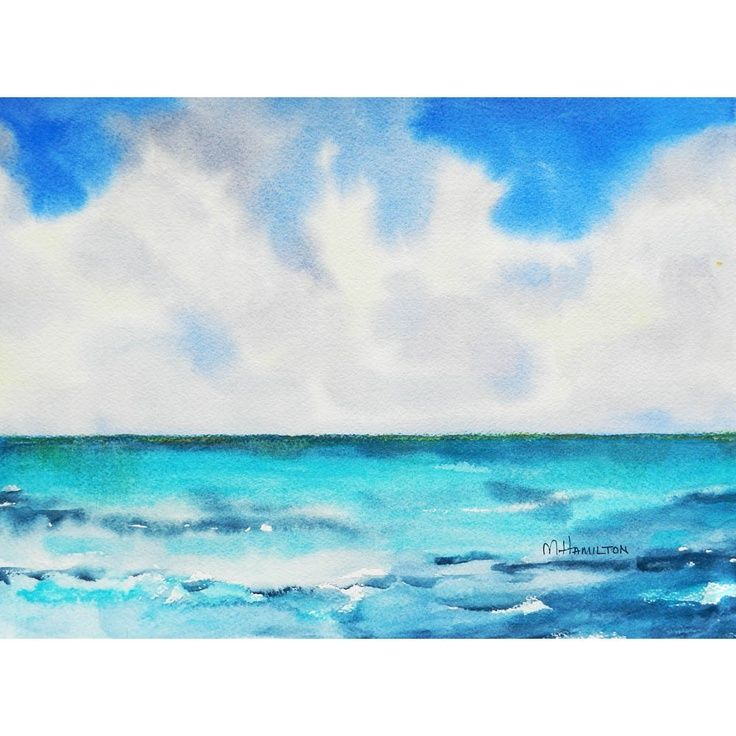 Endless Ocean Watercolor Painting With Clouds And Sea