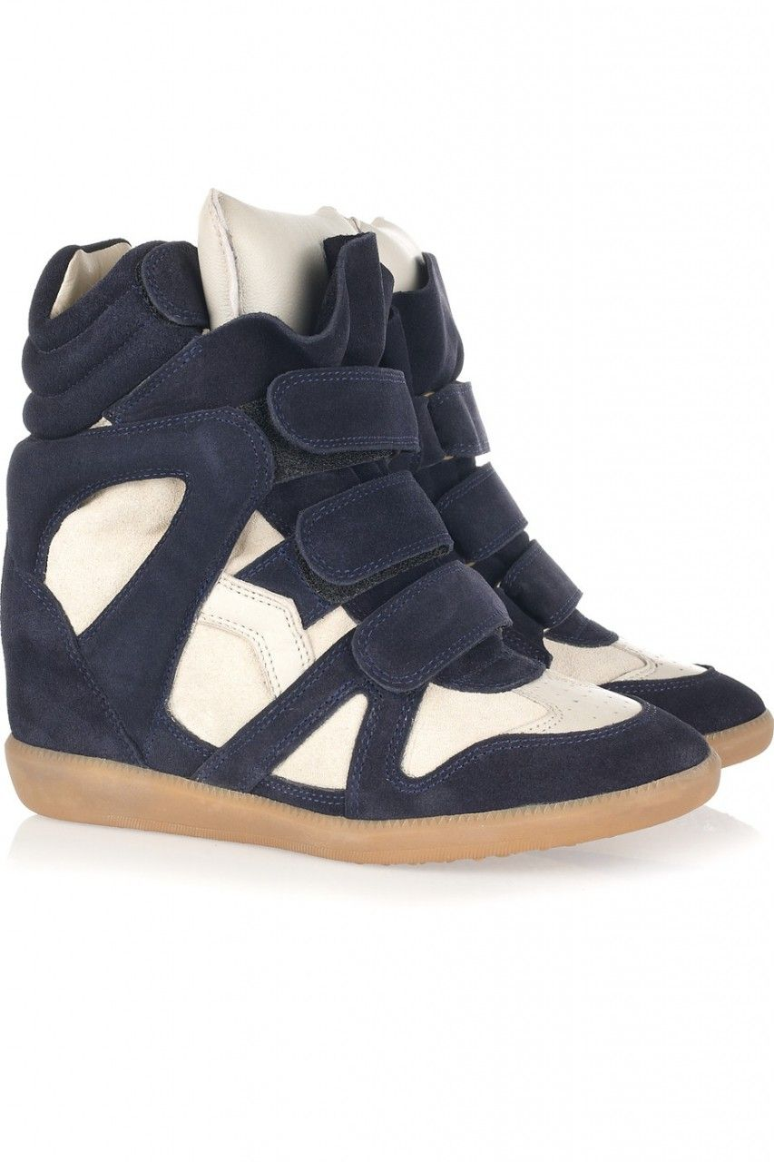 Isabel Marant Bekket Sneakers - Navy Blue White Suede And Leather High top  Wedge Sneakers
