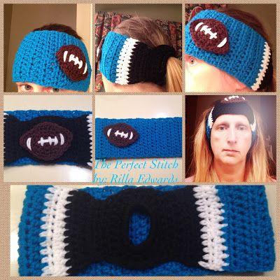 Carolina Panthers Ponytail Headband Ear Warmer...FREE PATTERN ...