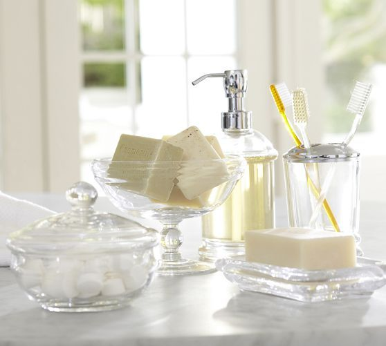 PB Classic Glass Bath Accessories | Pottery Barn