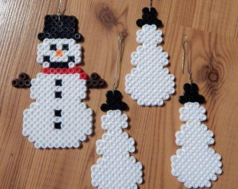 4 Snowflakes Perler Bead Art Ornaments B18 by jeannielovulloart