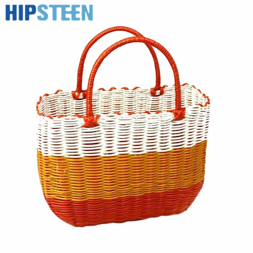 HIPSTEEN Dual Handles Plastic Hand Woven Fruit Storage Basket Vegetable  Hanging Baskets   Orange M