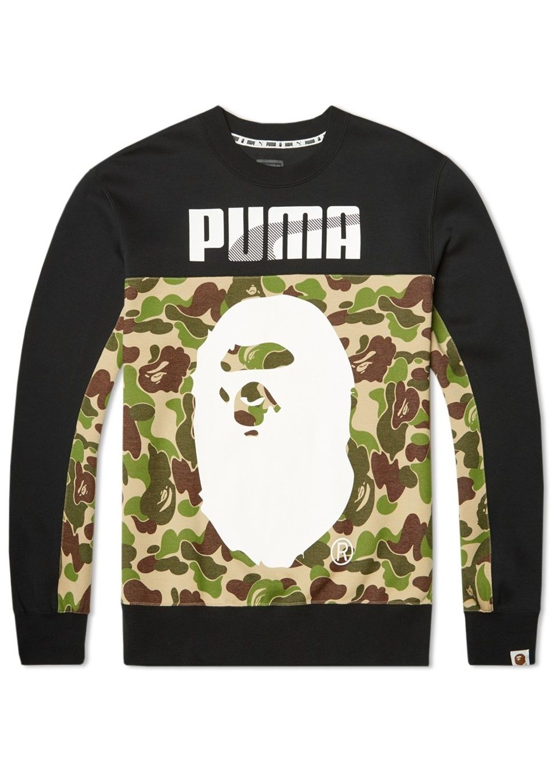 Bape X Puma Crew Camouflage Sweat A Bathing Ape Sweater Shirt Men S Sweatshirt In Camo Green Sweatshirts Mens Sweatshirts Sweater Shirt [ 1370 x 970 Pixel ]