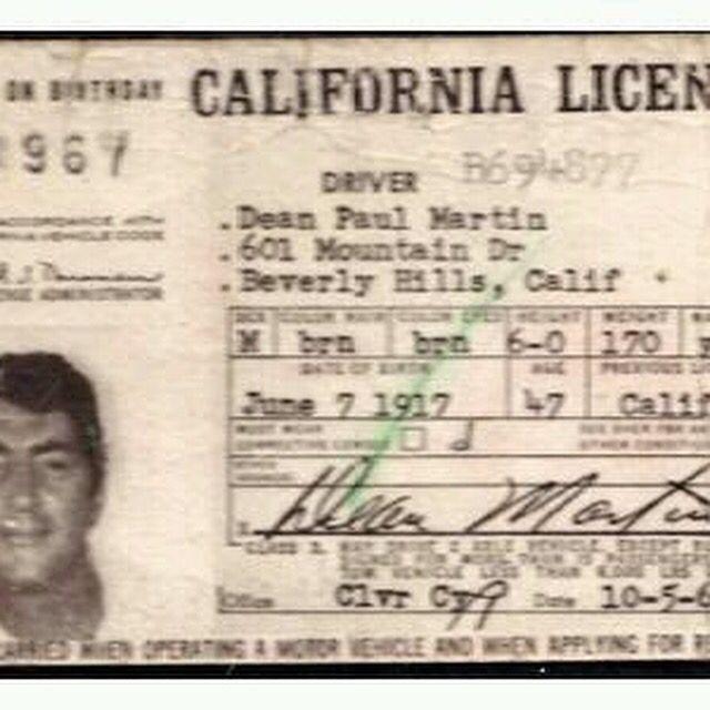 Dean Martin's 1967 drivers licenses. Classic!