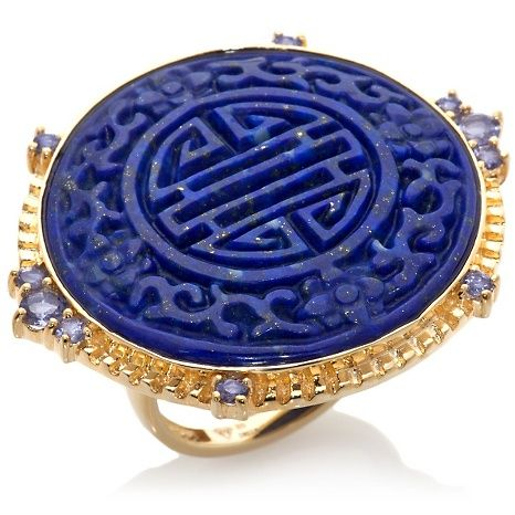 RARITIES: FINE JEWELRY WITH CAROL BRODIE Rarities: Fine Jewelry with Carol Brodie Blue Lapis and Iolite Yellow Gold Vermeil Carved Longevity Symbol Ring with tapered shank  Stone Information (all sizes and weights approximate) Total Carat Weight: 2.62ct (Iolite) Blue Lapis Round (27mm); mined in India Iolite Round (2mm and 3mm); mined in India