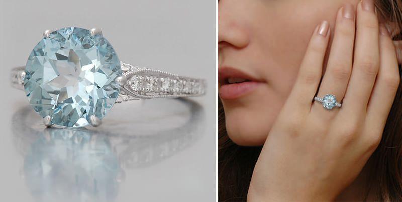 68e52275543 23 anéis de noivado com água-marinha para você se inspirar