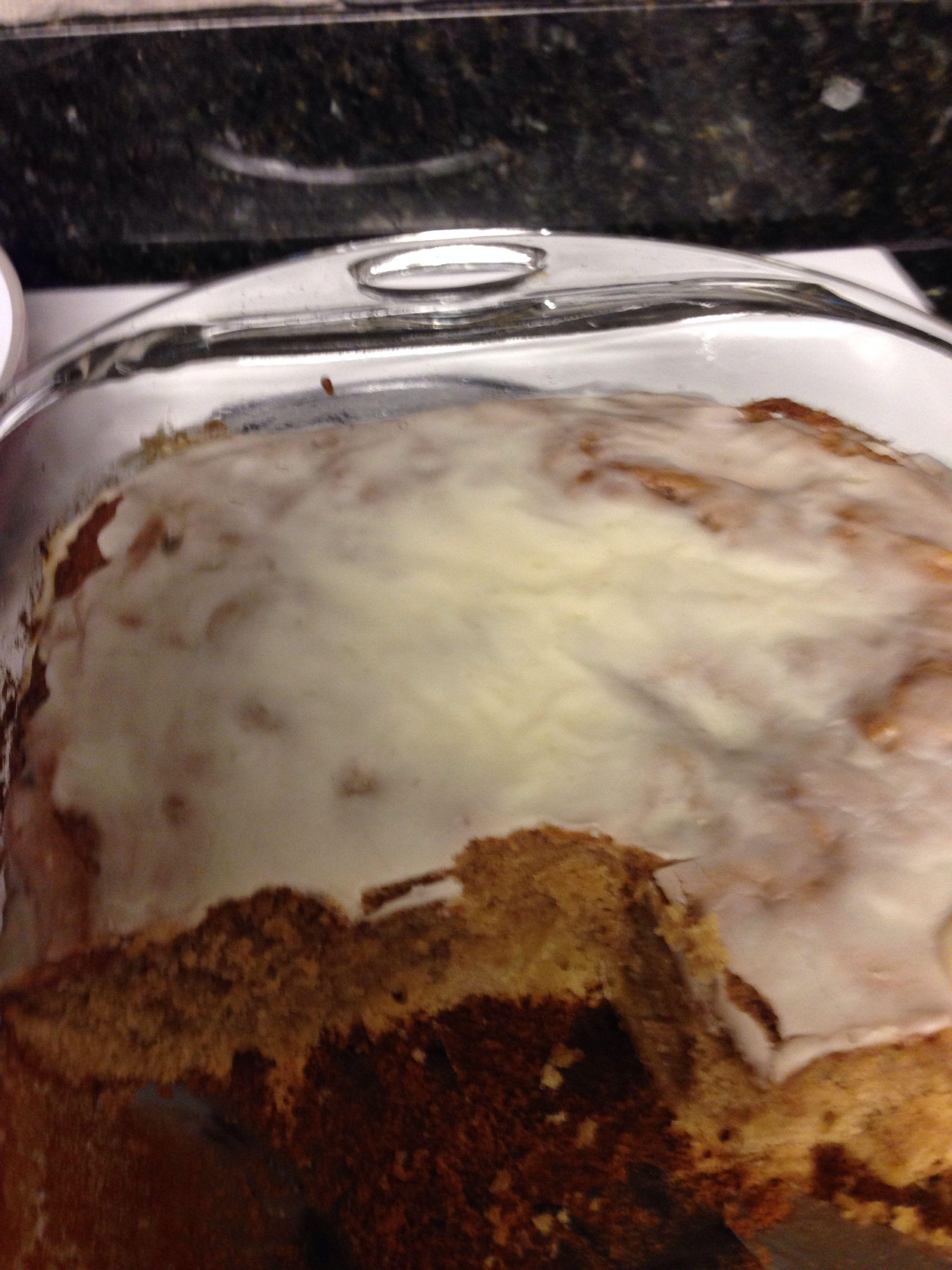 Homemade cinnamon roll cake