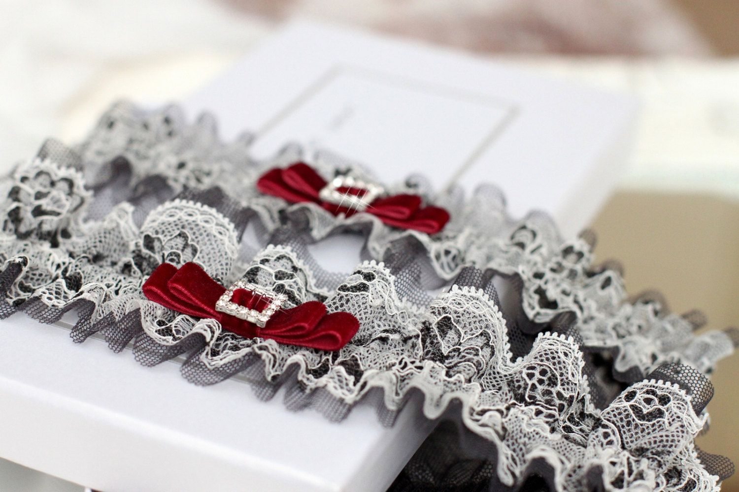 Grey Wedding Garter Set With Red Bridal Black And White Lace