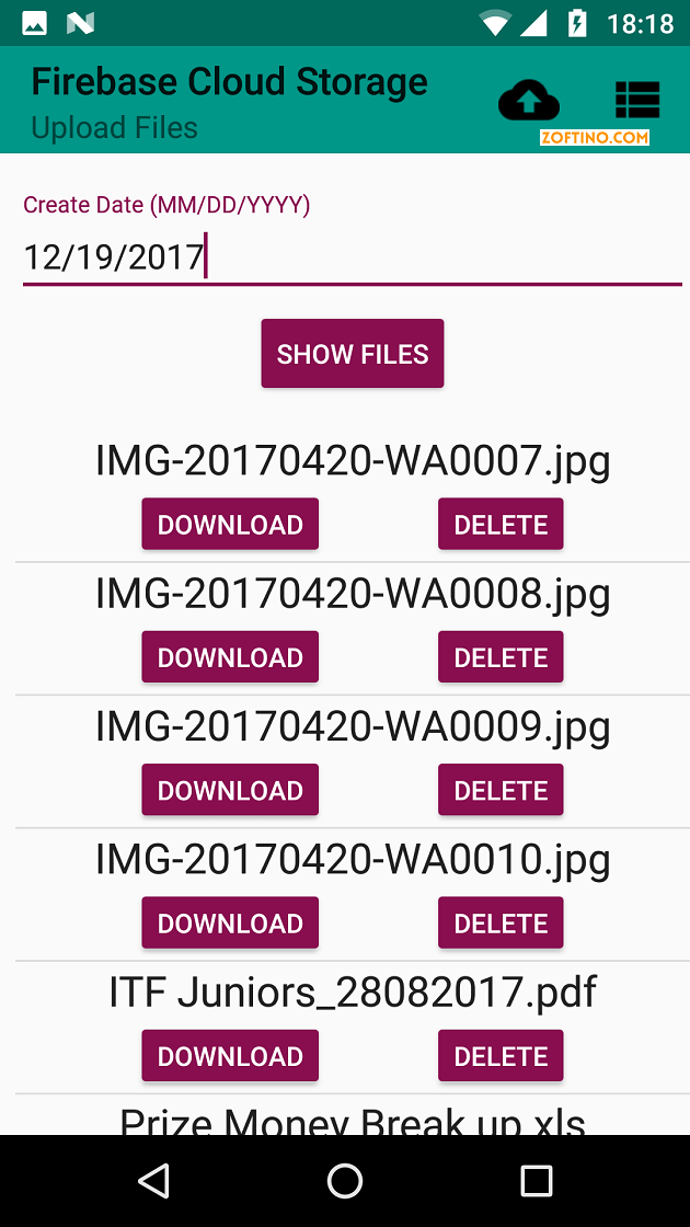 Android example uploading, downloading, deleting files - firebase