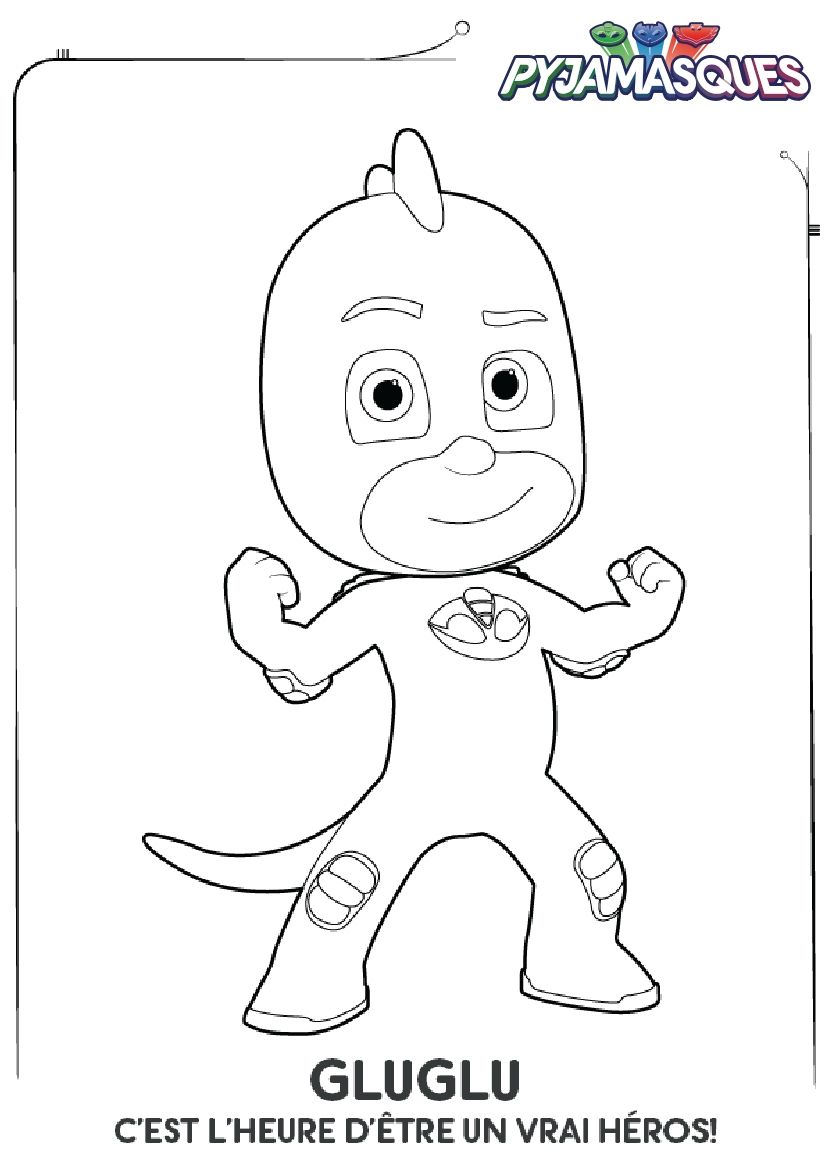 Coloriage Les Pyjamasques Gluglu Party Pj Mask Mask Drawing