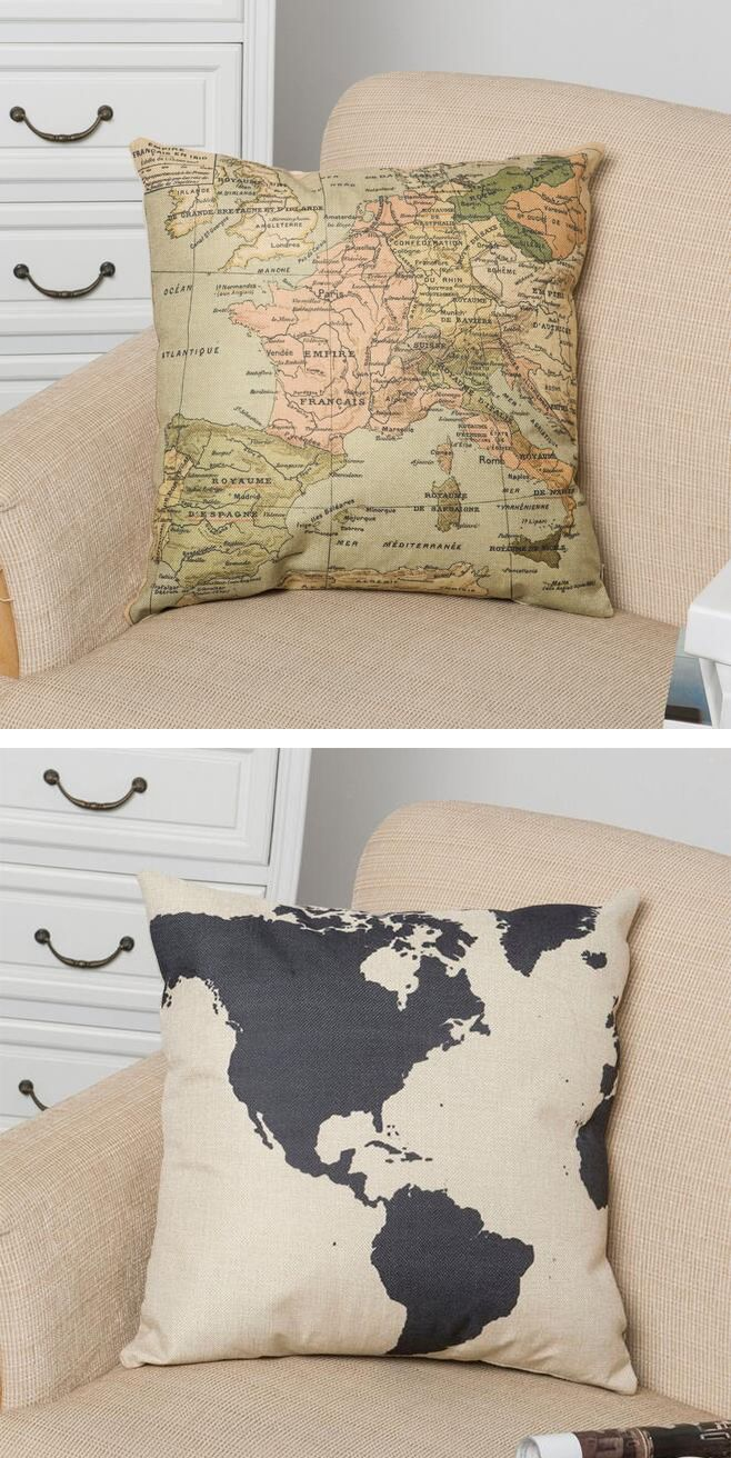 Wholesale S0020 World Map Square Linen Pillow Case Decorative