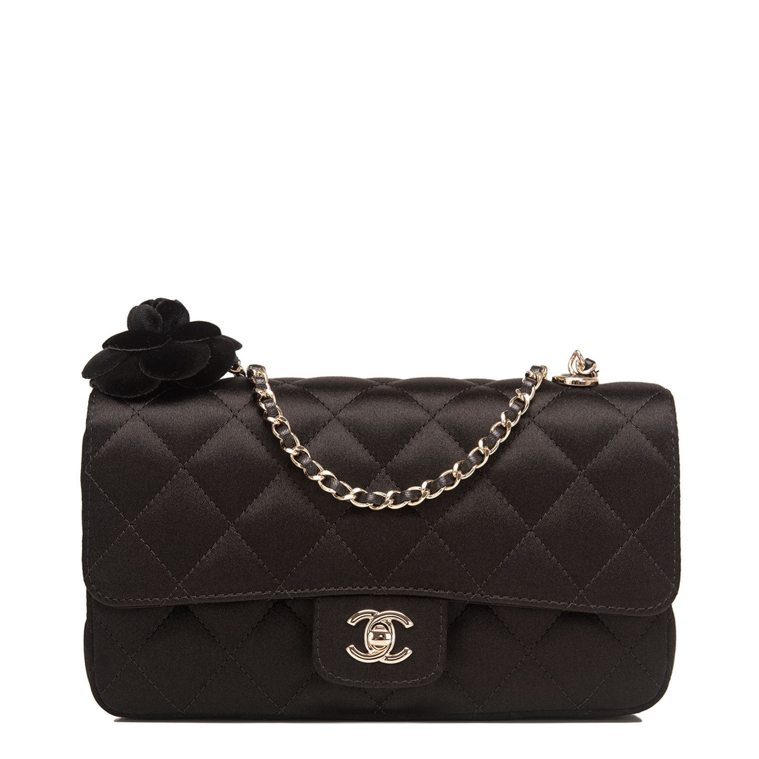 Chanel Black Quilted Satin Camellia Mini Flap Handbag Chanel