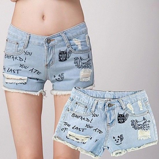 New Hot Fashion Women Denim Shorts Hole Letter Character - letter of character