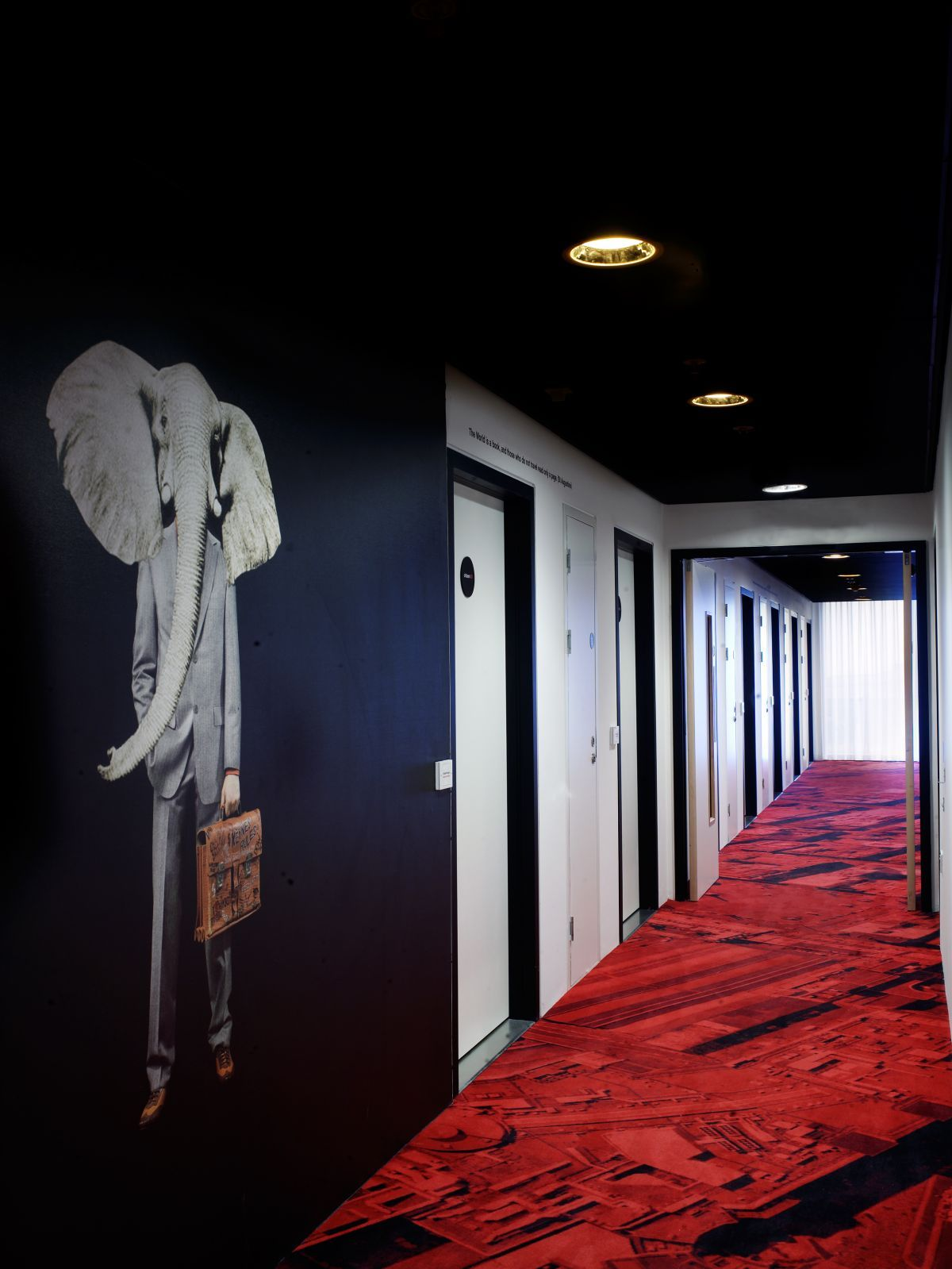 Interior, Hallway With Black Wall And Red Flooring: Awesome ...