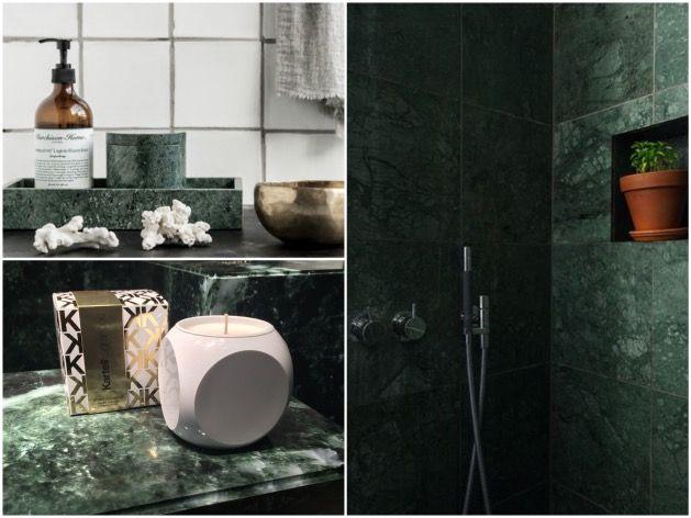Tendance déco : marbre vert | Marbre vert, Salle de bains chics et ...
