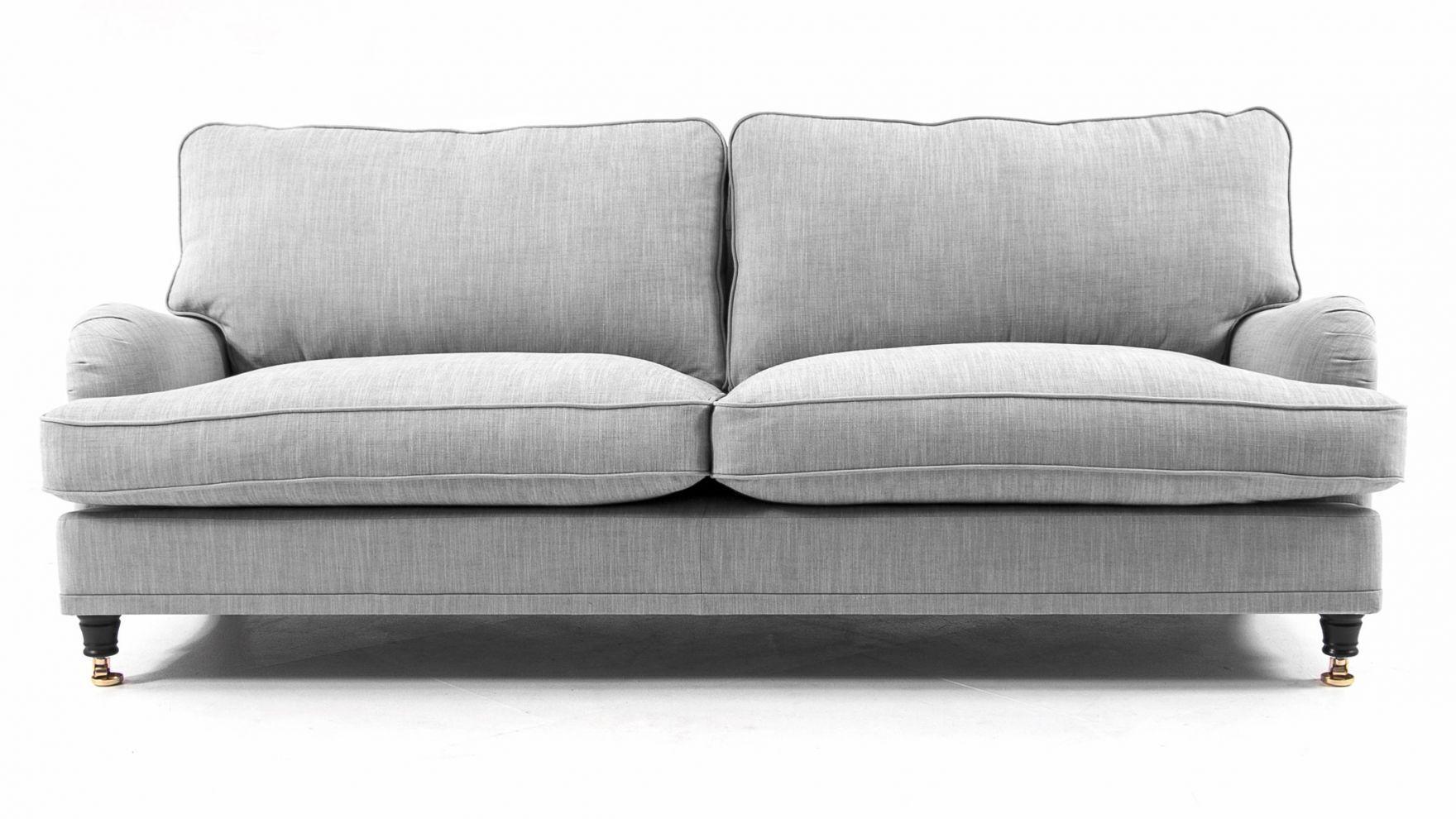 Grå Lejonet howardsoffa. Howard, soffa, dun, linne, mässing, hjul ...