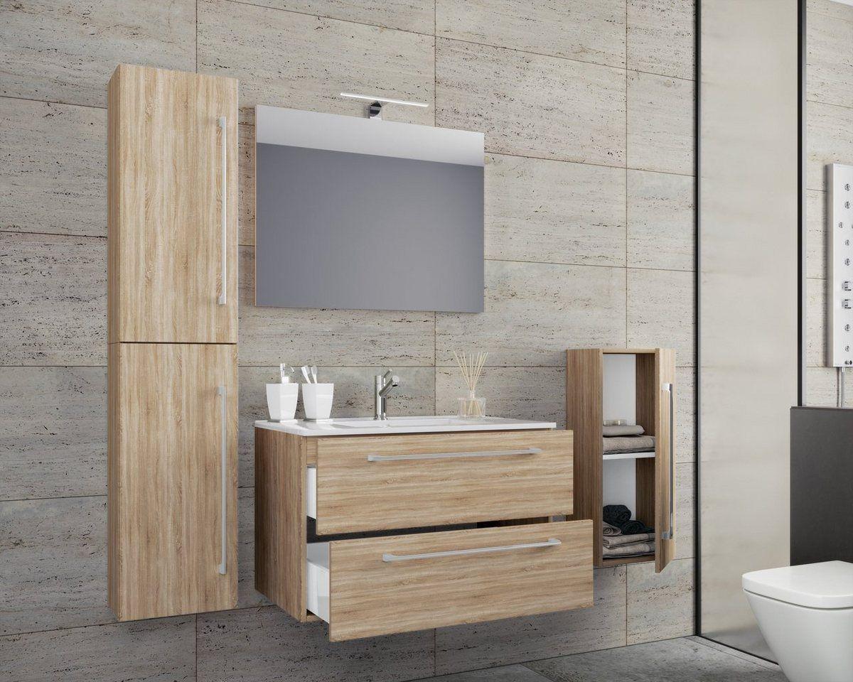 5 Tlg Waschplatz Mit Spiegel Badinos Badezimmer Set Moderne Waschbecken Und Waschtisch
