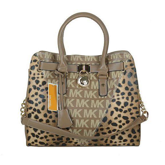 bb27c80b285d Michael Kors Outlet !Michael Kors Logo Signature Leopard Large Brown Totes  $67.99 ! Unbelievable !