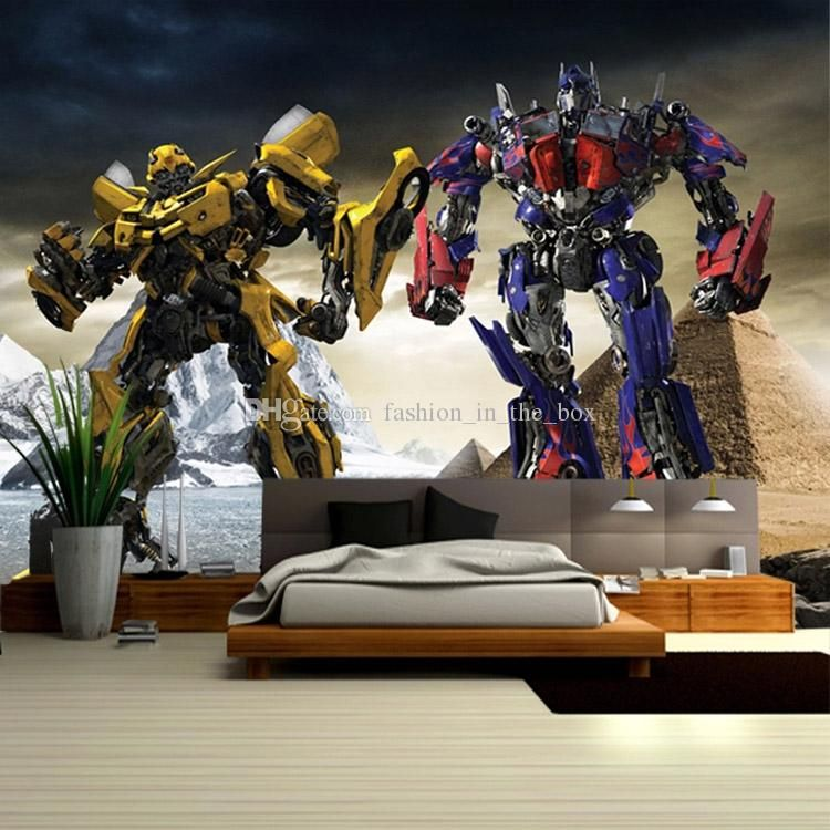 boys kids photo wallpaper 3d transformers wallpaper pics photos superhero wall murals in boys bedroom design