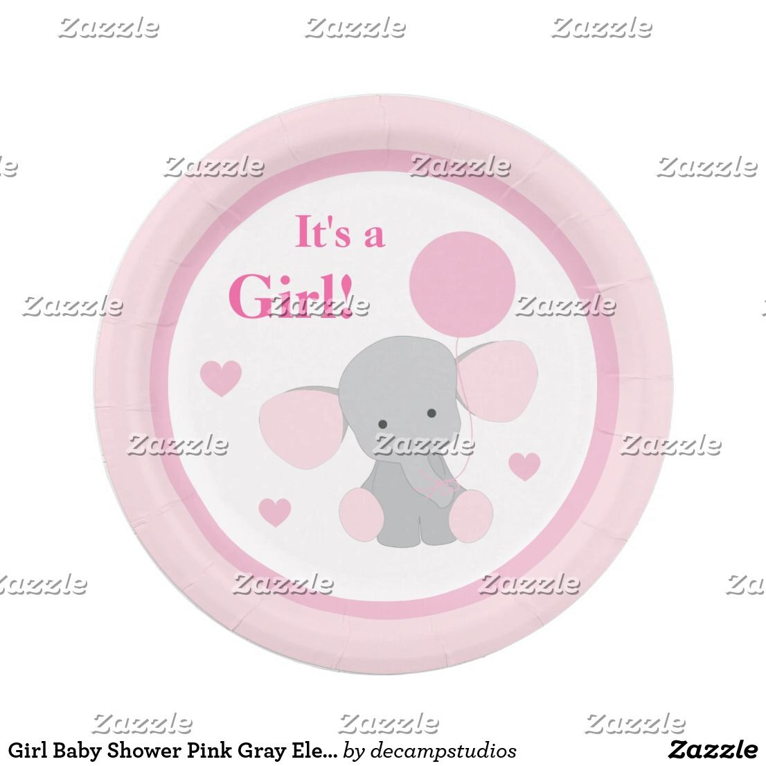 Girl Baby Shower Pink Gray Elephant Sprinkle Party Paper Plate  sc 1 st  Pinterest & Girl Baby Shower Pink Gray Elephant Sprinkle Party Paper Plate ...