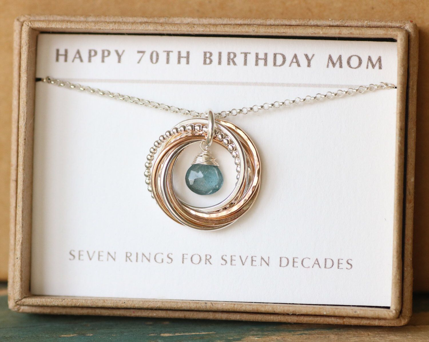 70th Birthday Gift For Mom Aquamarine Necklace March Birthstone Jewelry Mother