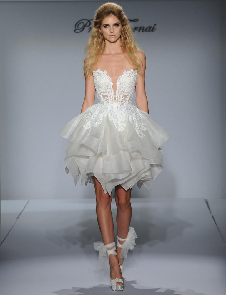 See every super sexy pnina tornai wedding dress for fall 2016 pnina tornai short wedding dress with tiered ruffle skirt and illusion lace bodice from fall 2016 junglespirit Choice Image