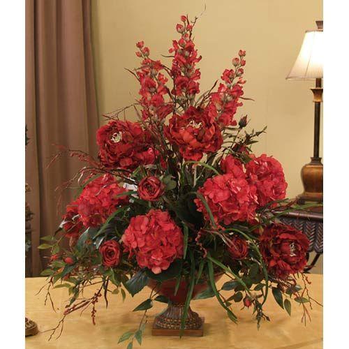 Grande Red Silk Floral Design Floral Home Decor Florals Arrangements Faux Flo Fake Flower Arrangements Artificial Flower Arrangements Fake Flower Centerpieces