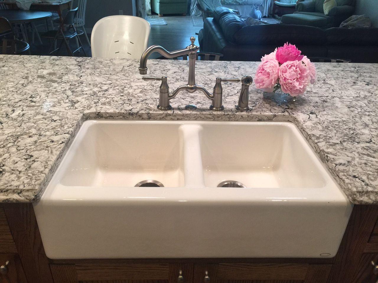 Kohler Hawthorne double bowl apron front sink, Brizo Tresa ...