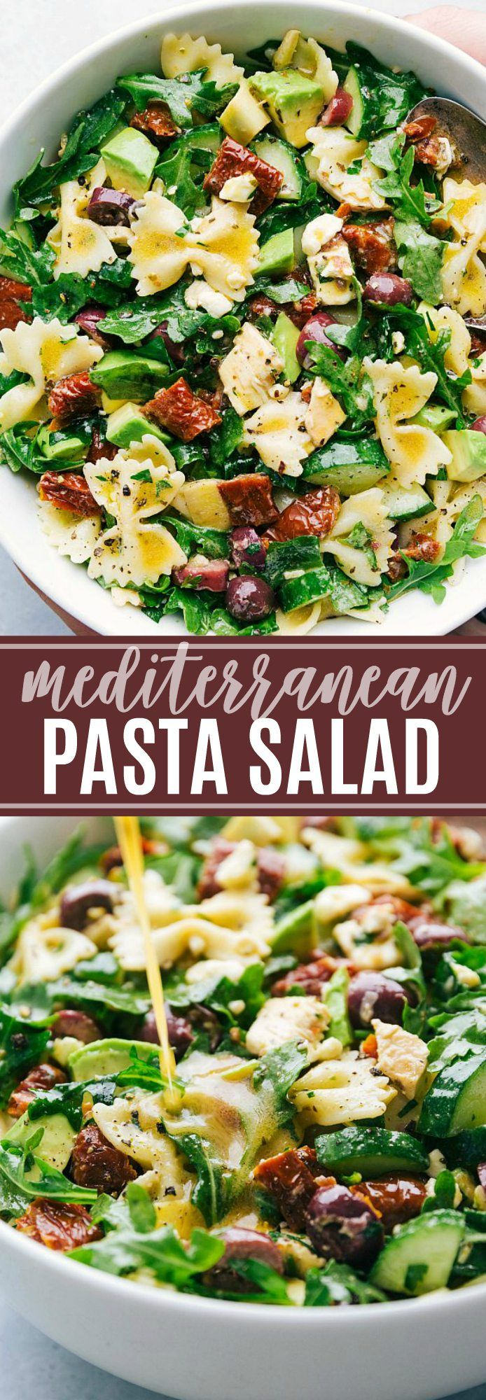 A delicious and healthy mediterranean pasta salad with arugula, veggie, and chicken salad with the best lemon vinaigrette! (Vegetarian option) via