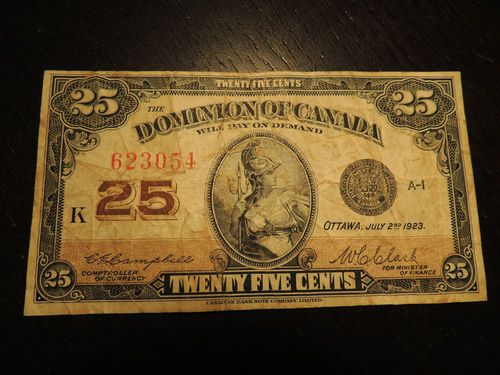 1923 Dominion Of Canada Shinplaster 0 25 Cents Paper Money Campbell Clark 623054 Ebay Paper Money Money Canadian Coins