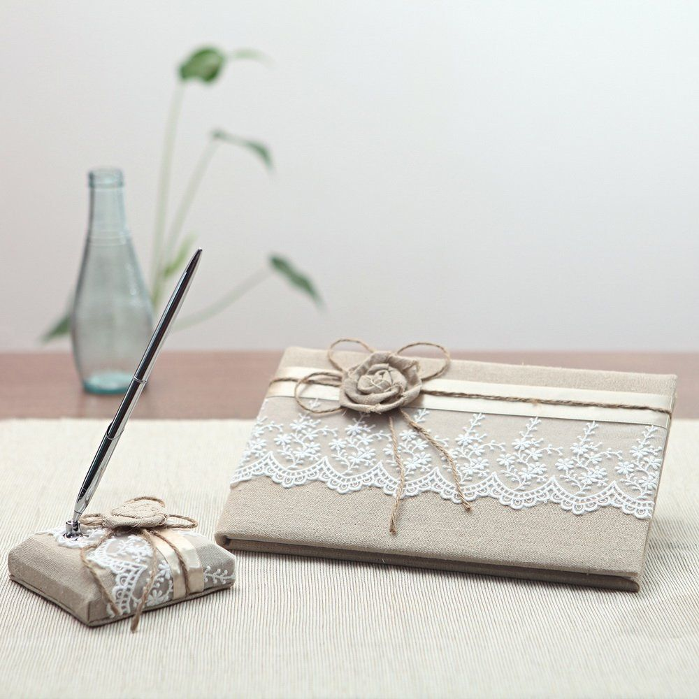 KateMelon Wedding Accessories Lace and Rustic Guest Book and Pen Set ...