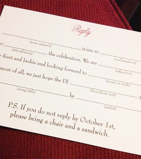 Funny Wedding Rsvp Line Will Lol Your Guests Into Replying Funny Wedding Invitations Rsvp Wedding Cards Wording Rsvp Wedding Cards