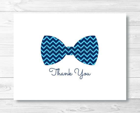 Bow Tie Thank You Card  Folded Template  By Littleprintsparties