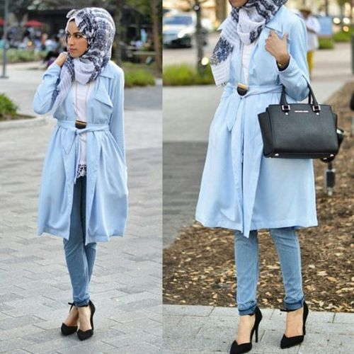 blue cardigan jacket hijab outfit- How to wear long cardigan with ...